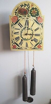 Antique Wall Clock Black Forest German Schwarzwalder Dial & Case Folklore 19c