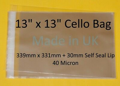 """13"""" x 13"""" - Cellophane Display Bag - 339mm x 331mm + 30mm lip for Photographs"""