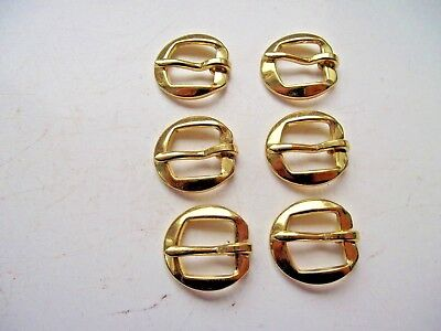 ANTIQUE STYLE BRASS EFFECT BUCKLES 6 SET D SHAPED RINGS 2.2 cm BELT LEATHER WORK