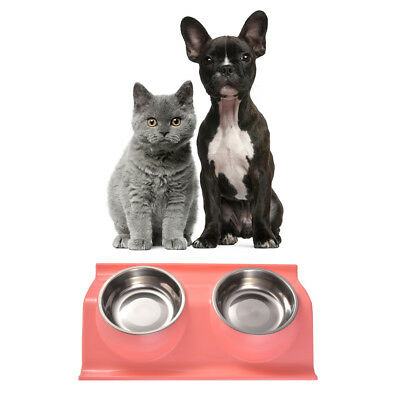 Pet Dog Puppy Cat Food Dish Feeder Stainless Steel Bowls Feeding Water PS237