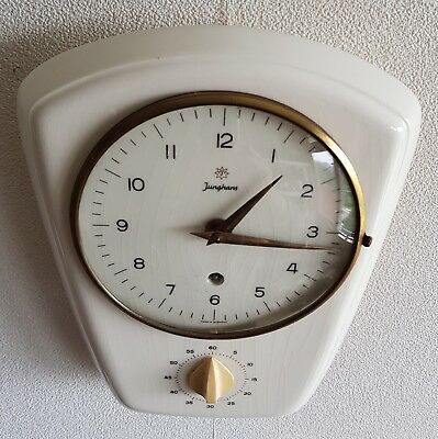 Junghans Wall Clock Kitchen 8 Day Retro Egg Timer Vintage Key Germany