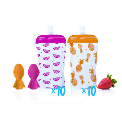 Cherub Baby Reusable Food Pouch Minis 20pk + Food Pouch Spoons 2pk Pink Orange