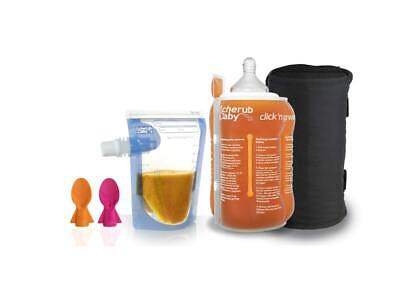 Cherub Baby Reusable Food Pouch and Bottle/Pouch Warmer Bundle Pink Orange