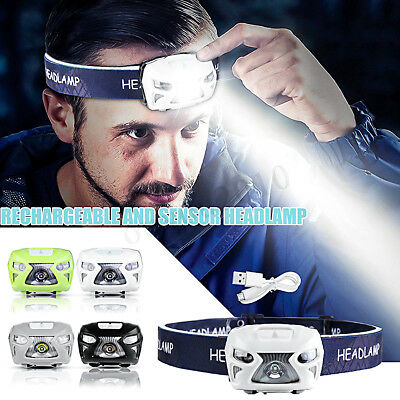 30000LM LED Motion Sensor Headlamp Rechargeable Headlight Torch Lamp Flashlight
