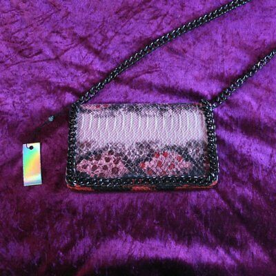 Missguided Red Faux Leather Snakeskin Cross Body Bag BNWT