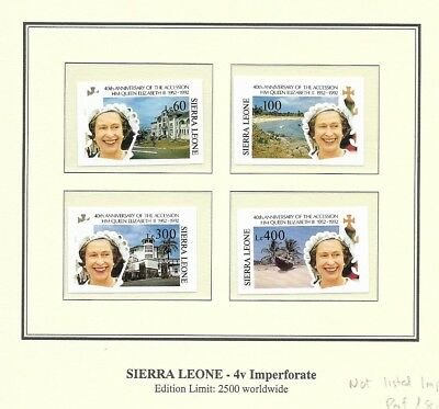Sierra Leone 1992 Accession Anniversary Imperf set + min sheets MNH