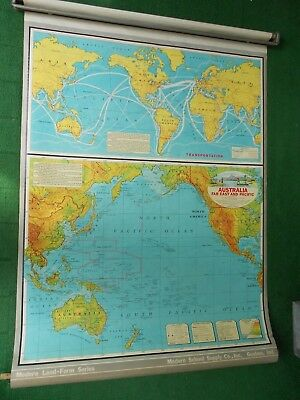 Modern School Supply Roll Pull Down School Map Australia Far East & Pacific