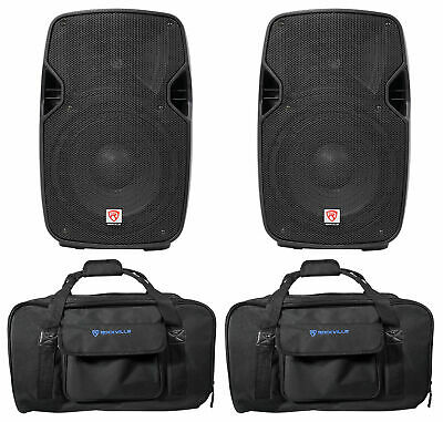 """(2) Rockville SPGN104 10"""" 1600W DJ PA Speakers 4-Ohm+Weather proof Carry Bags"""