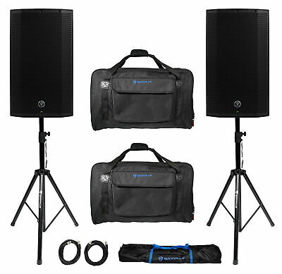 """(2) Mackie Thump12A THUMP-12A 12"""" 2600w Powered DJ PA Speakers+Carry Bags+Stands"""