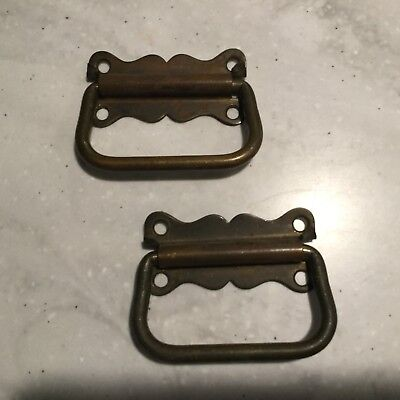 Pair Antique Solid Brass Handles / Pulls for Blanket Box, Tool Chest or Drawers