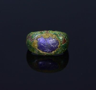 Medieval Saxon Bronze Ring With Purple Stone Inset In The Bezel  - T13