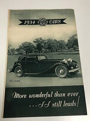 Very Rare 1933 SS Cars 4 Page Pull Out Motor Car Magazine Advert Brochure