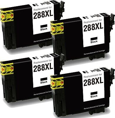 Remanufactured 288XL 4Pk Black Ink Cartridge fit Epson XP330 XP430 XP340 XP440