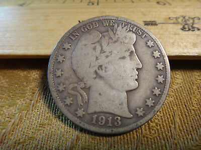 1913-S United States Barber Silver Half Dollar 50c - Free S&H USA