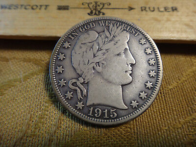 1915-S United States Barber Silver Half Dollar 50c - Free S&H USA