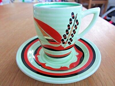 Rare Clarice Cliff Bizarre Cup And Saucer, 1934 Art Deco Lynton Shape