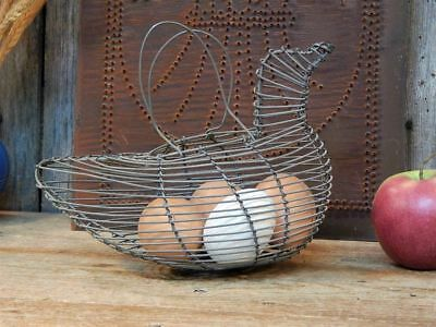 VTG Primitive Old Metal Wire French Country Chicken Shaped Egg Basket Farmhouse
