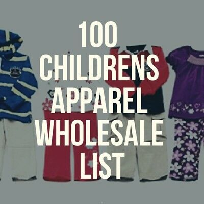 Excel Spreadsheet of 100 US Children Apparel Wholesalers with Contact and URL