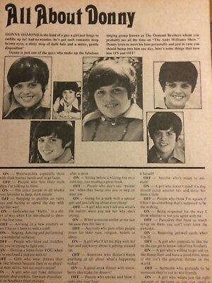 Donny Osmond, Osmonds Brothers, Frank Webb, Double Full Page Vintage Clipping