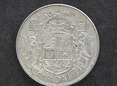 1952 Canada Fifty Cents Silver George VI Canadian Coin D7609