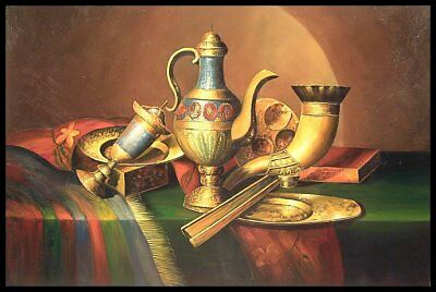 """36""""x24"""" Oil Painting on Canvas, Still Life with Brass, Genuine Hand Painted"""