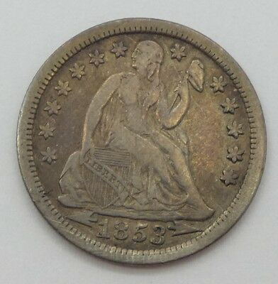 1853 Liberty Seated Dime with Arrows at the Date VERY FINE Silver 10c