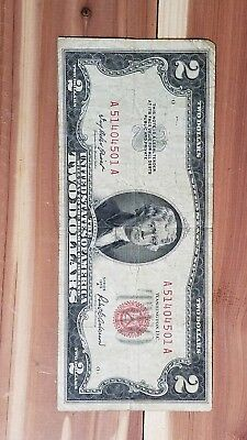 1953 A  $2.00 United States Two Dollar Bill Red Seal Note