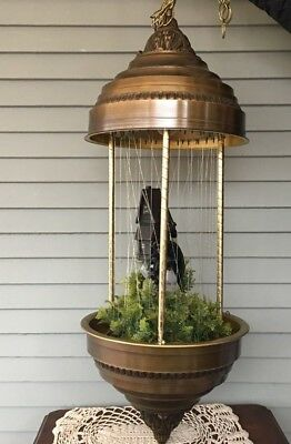 """Vintage Oil Drip Rain Hanging Lamp with Mill & Water Wheel 34"""" Tall"""
