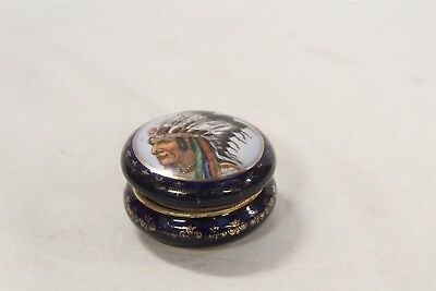 Antique French Cobalt Blue Hand Painted Indian Chief Artist Signed Porcelain Box