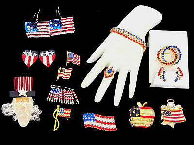 Vintage Patriotic Veterans Day Wearable Americana & Rhinestone Jewelry 13 Pc Lot