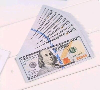 FAKE MOVIE PROP MONEY FULL PRINT 10 $100 Bills = $1000 PROP CASH PLUS FREE GIFT