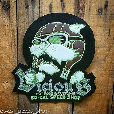 So Cal Speed Shop Vicious Aviator Vtg Style Chain Stitch & Leather Patch Hot Rod