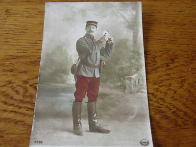 WWI FrenchPicture/postcard soldier with flower in color