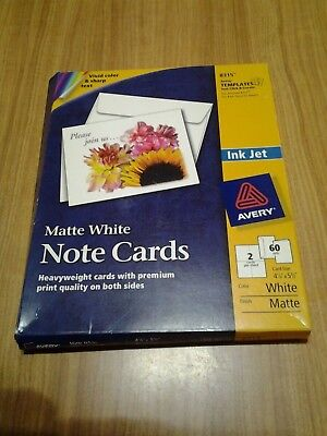 Avery #8315 Matte White Note Cards (36 Cards 58 Envelopes) Free Shipping