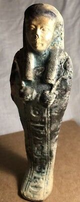 Ancient Egyptian Faience Ushabti With Hieroglyphics