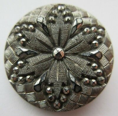 Dazzling Antique~ Vtg Victorian Black GLASS BUTTON Faceted Silver Luster (A30)