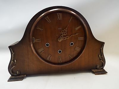 Vintage SMITHS Wooden Mantle Clock With Key SPARES/REPAIRS - H15