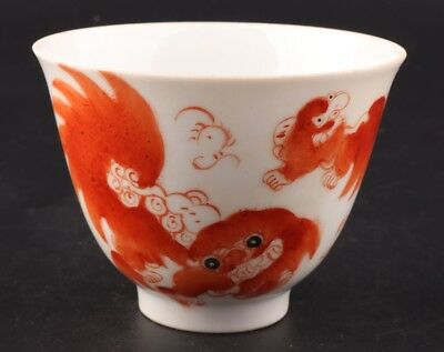 China Precious Porcelain Hand-Painted Lion Bowl Home Decoration Collection