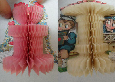 2 Vintage 1920's Die-cut 3D Tissue Paper Honeycomb Valentine's Day Cards Germany
