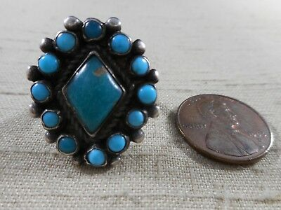 FRED HARVEY era unusual Indian handcrafted NATURAL turquoise cluster ring