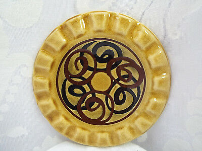 Retro BRIXHAM POTTERY Hand Thrown Ashtray with Hand Painted Black & Brown Swirls