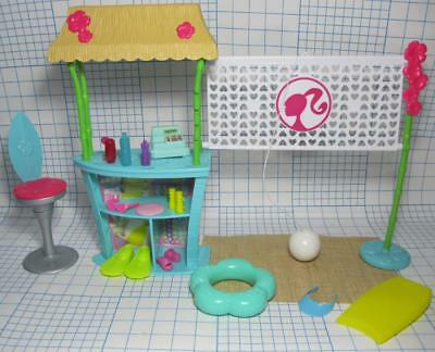 Barbie Doll Pink Passport TIKI HUT/VOLLEYBALL NET BEACH PLAYSET BALL SAND GLASS