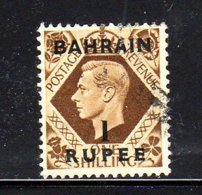 BAHRAIN #59  1948 1r ON 1sh KING GEORGE VI   F-VF  USED