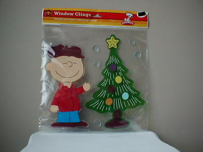 Snoopy Christmas Peanuts Window Cling Jelz 7 piece Charlie Brown Large