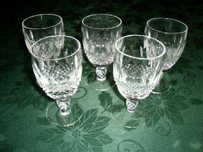"Five (5) WATERFORD Cut Crystal ""Colleen""  Claret Short Stem Wine Glasses"