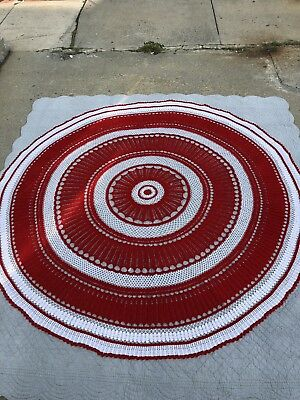 Beautiful Large Rare Hand-Crocheted Red And White Christmas Tablecloth
