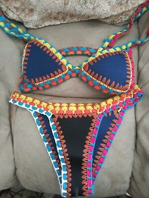 Vintage 70s Pucci colorful 2-piece Bathing Suit Size Top 32A bottom XS authentic