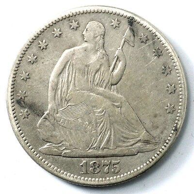 1875-S Seated Liberty Half Dollar - Fine - 50c Silver