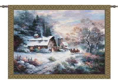 HORSE SLEIGH WINTER SNOW COUNTRY COTTAGE ART TAPESTRY WALL HANGING 32x25