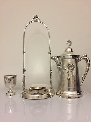 Victorian Rogers Silver Quadruple Tilting Water Pitcher with stand and goblet